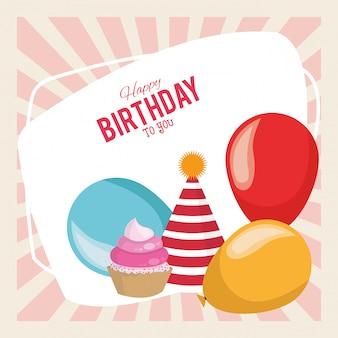 Wszystkiego najlepszego z okazji urodzin party balony kapelusz i ciastko deser