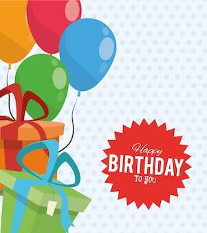 Wszystkiego najlepszego z okazji urodzin party party pudełka prezentowe balony naklejka dekoracyjna