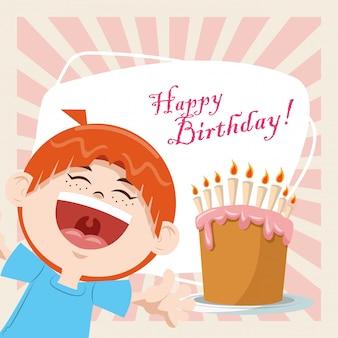 Wszystkiego najlepszego z okazji urodzin party party uśmiechnięty chłopiec z słodkie ciasto i świece