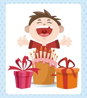 Wszystkiego najlepszego z okazji urodzin party uśmiechnięta chłopiec z słodkie ciasto i prezenty