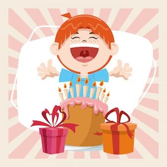 Wszystkiego najlepszego z okazji urodzin party uśmiechnięty chłopiec z słodkie ciasta i pudełka