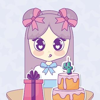 Wszystkiego najlepszego z okazji urodzin projekt z kawaii anime dziewczyną