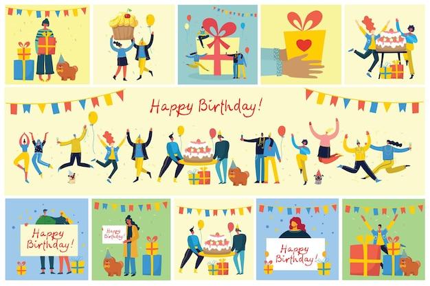 Wszystkiego najlepszego z okazji urodzin. szczęśliwa grupa ludzi świętuje.