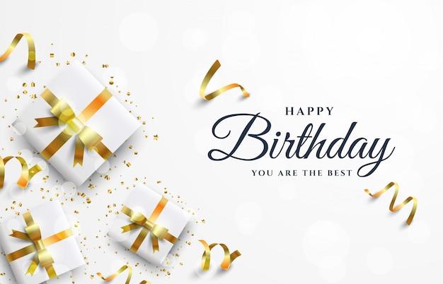 Wszystkiego najlepszego z okazji urodzin tła z białym szkatułce.