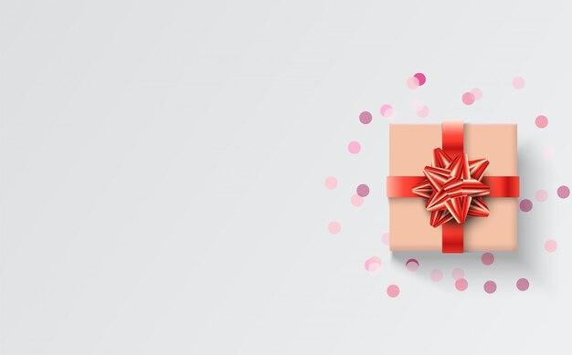 Wszystkiego najlepszego z okazji urodzin tła z ilustracją brązowe pudełko i czerwoną wstążką na białym tle