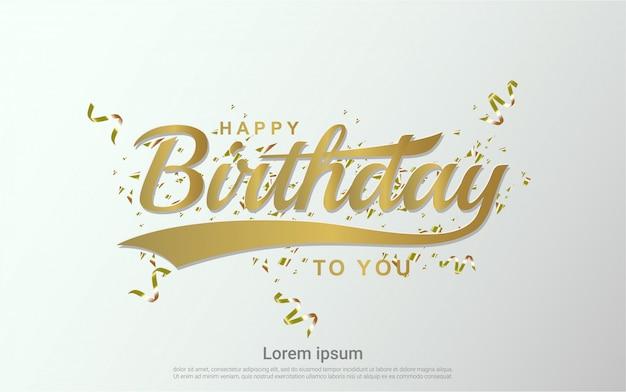 Wszystkiego najlepszego z okazji urodzin tła z złota wstążka