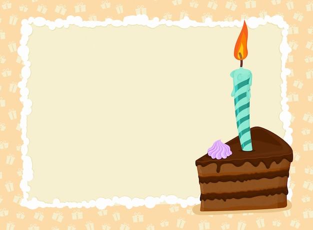 Wszystkiego najlepszego z okazji urodzin tło z copyspace. kawałek ciasta i świeca.