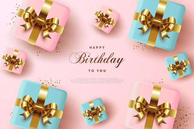 Wszystkiego najlepszego z okazji urodzin tło z pudełka na prezenty.