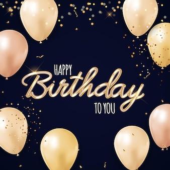 Wszystkiego najlepszego z okazji urodzin tło z realistycznymi balonami, konfetti i wstążką.