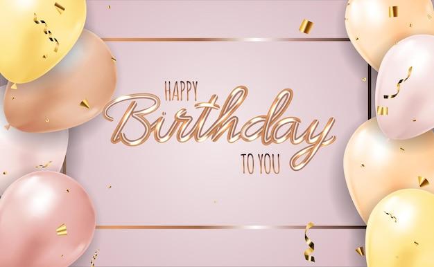 Wszystkiego najlepszego z okazji urodzin tło z realistycznymi balonami.