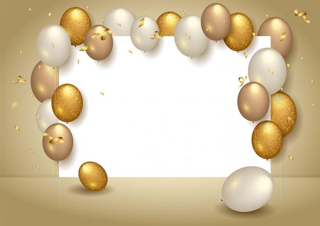 Wszystkiego najlepszego z okazji urodzin tło z realistycznymi balonami