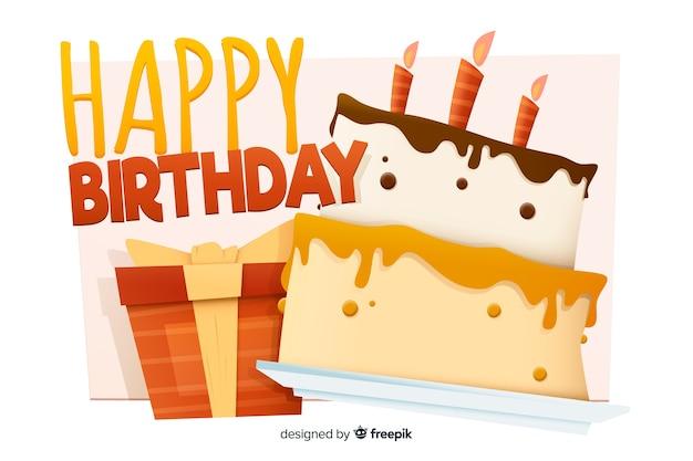 Wszystkiego najlepszego z okazji urodzin tło z tortem w płaskim projekcie