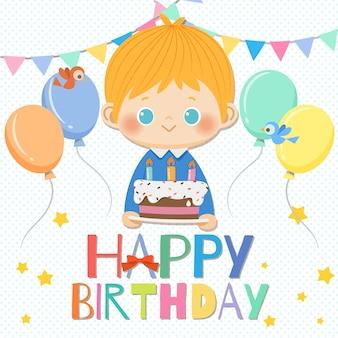 Wszystkiego najlepszego z okazji urodzin uśmiechnięta chłopiec z tortowymi i urodzinowymi elementami.