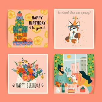 Wszystkiego najlepszego z okazji urodzin. wektor zestaw ślicznych ilustracji.