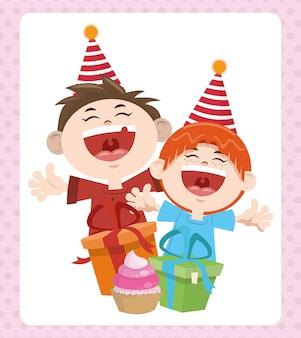 Wszystkiego najlepszego z okazji urodzin wesołych chłopców z prezentami i czapeczek
