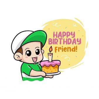 Wszystkiego najlepszego z okazji urodzin z chłopiec ilustracją