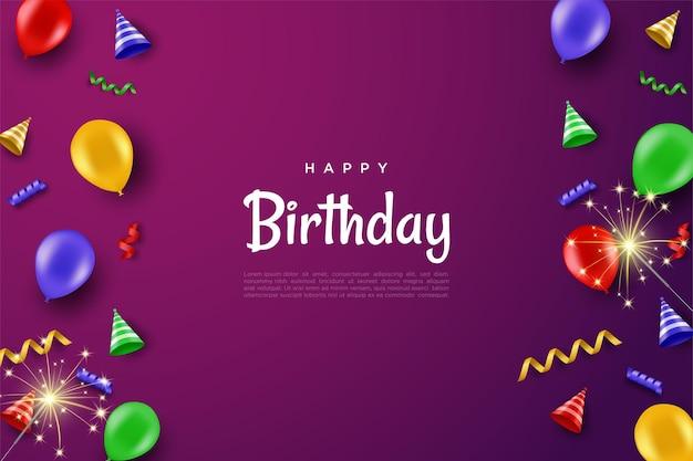 Wszystkiego najlepszego z okazji urodzin z ciastem i kapeluszem