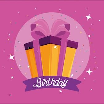 Wszystkiego najlepszego z okazji urodzin z dekoracją prezentu i imprezy