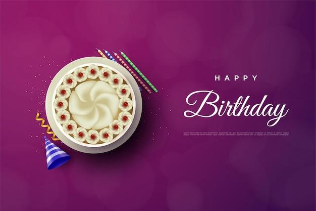Wszystkiego najlepszego z okazji urodzin z dużym ciastem i kapeluszem