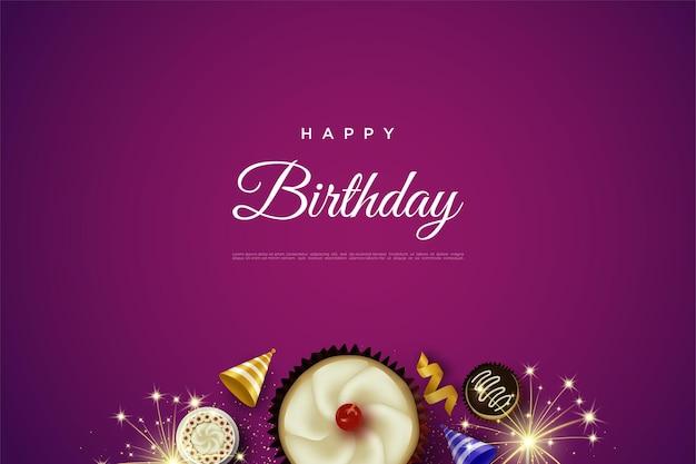Wszystkiego najlepszego z okazji urodzin z ilustracją ciasta