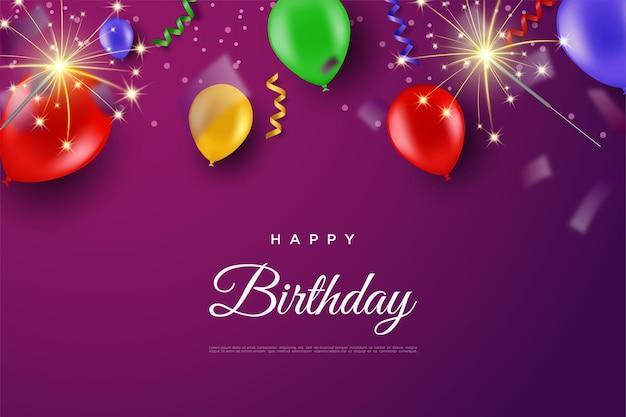 Wszystkiego najlepszego z okazji urodzin z kolorowymi balonami