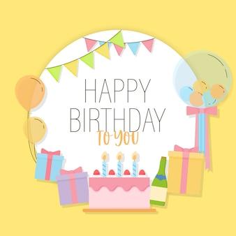 Wszystkiego najlepszego z okazji urodzin z kolorowymi teraźniejszymi pudełkami, partyjnym kapeluszem, kolorowymi balonami i dekoracjami