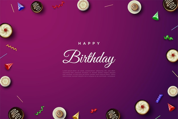 Wszystkiego najlepszego z okazji urodzin z małym ciastem rozłożonym