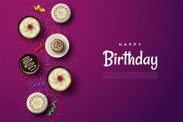 Wszystkiego najlepszego z okazji urodzin z pyszną ilustracją ciasta