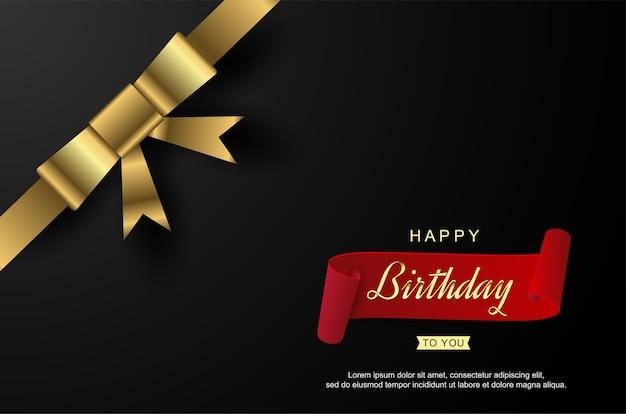 Wszystkiego najlepszego z okazji urodzin z realistyczną wstążką.