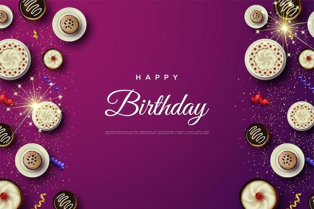 Wszystkiego najlepszego z okazji urodzin z różnymi ciastami