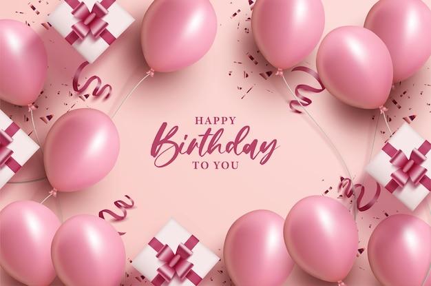 Wszystkiego najlepszego z okazji urodzin z różowymi balonami i pudełkiem na prezent
