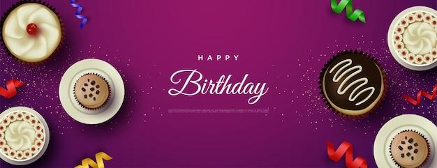 Wszystkiego najlepszego z okazji urodzin z sześcioma pysznymi ciastami