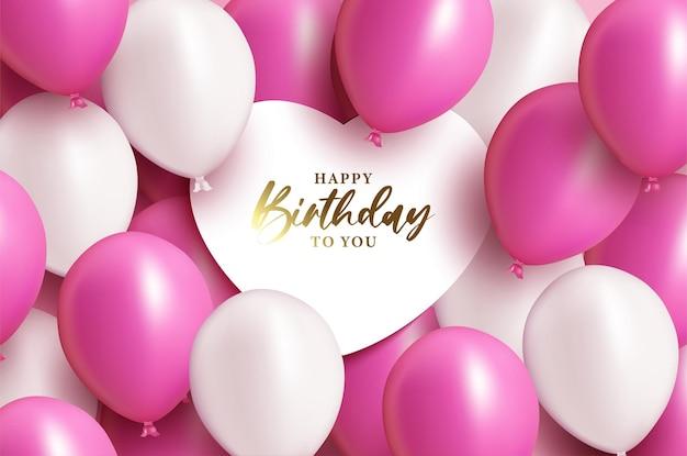 Wszystkiego najlepszego z okazji urodzin ze świecącym napisem i balonami