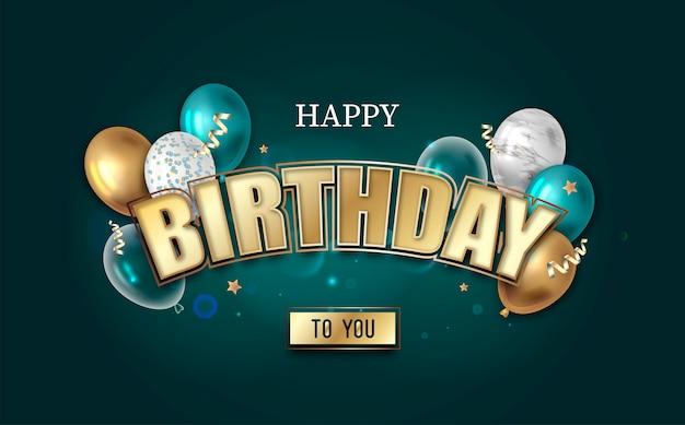 Wszystkiego najlepszego z okazji urodzin. złoty napis z balonami.