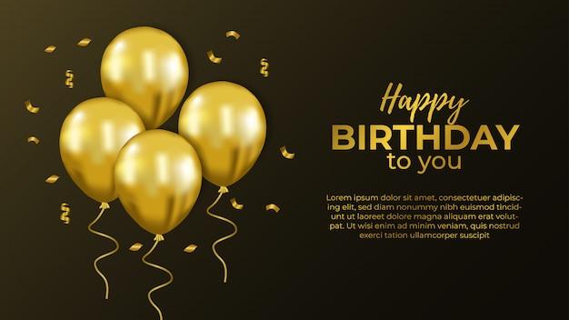 Wszystkiego najlepszego zaproszenie ze złotym balonem