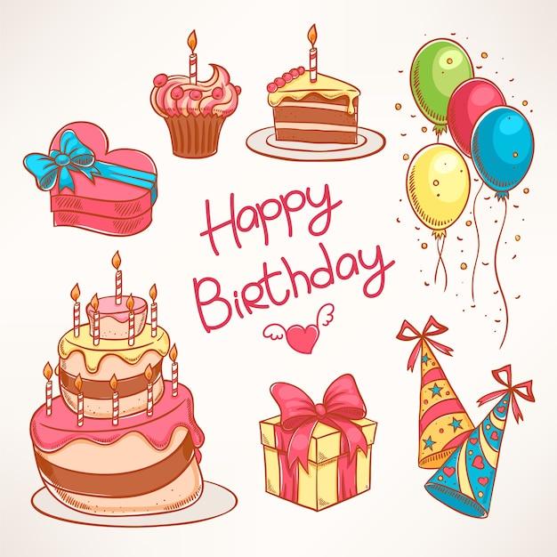 Wszystkiego najlepszego. zestaw z kolorowymi tortami urodzinowymi i prezentami