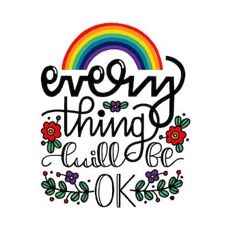 Wszystko będzie dobrze, napis pozytywny cytat