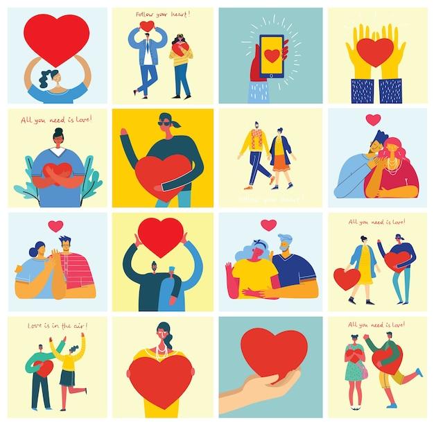 Wszystko czego ci trzeba to miłość. ręce i ludzie z sercami jak masaże miłości. valentine ilustracja karty szczęśliwych par zakochanych w stylu płaski