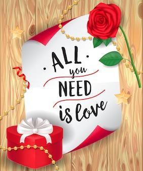 Wszystko czego potrzebujesz to love lettering i rose