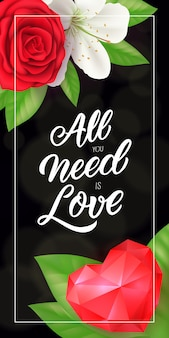 Wszystko czego potrzebujesz to love lettering with heart