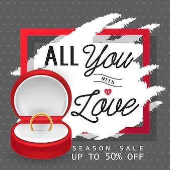 Wszystko czego potrzebujesz to love lettering with ring