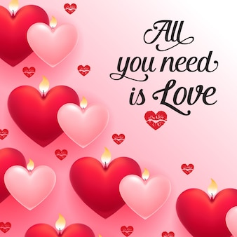 Wszystko czego potrzebujesz to miłosne napisy z czerwonymi i różowymi sercami