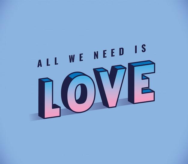 Wszystko czego potrzebujesz to napis miłosny na niebieskim tle, typografia retro i motyw komiksowy