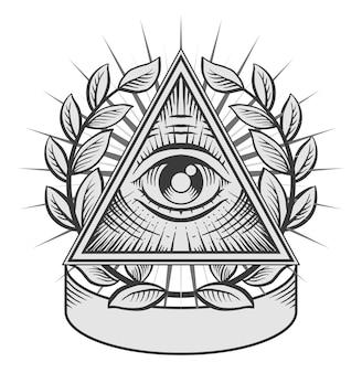 Wszystko widzące oko. czarno-biała ilustracja