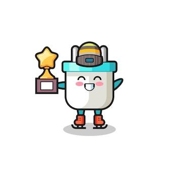 Wtyczka elektryczna kreskówka jako gracz na łyżwach trzyma trofeum zwycięzcy, ładny styl na koszulkę, naklejkę, element logo