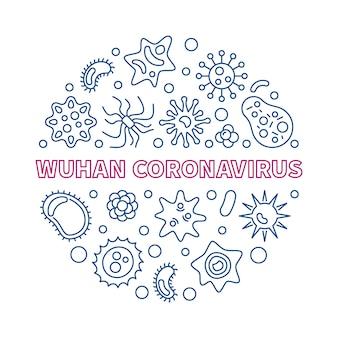 Wuhan coronavirus koncepcja zarys ikony