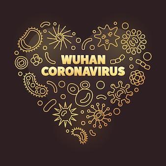 Wuhan coronavirus kształt serca złote ikony