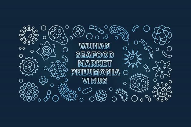 Wuhan seafood market wirus zapalenia płuc ikony konspektu