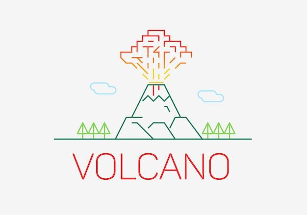 Wulkan eksploduje cienka linia ikona płaska konstrukcja elementów logo.