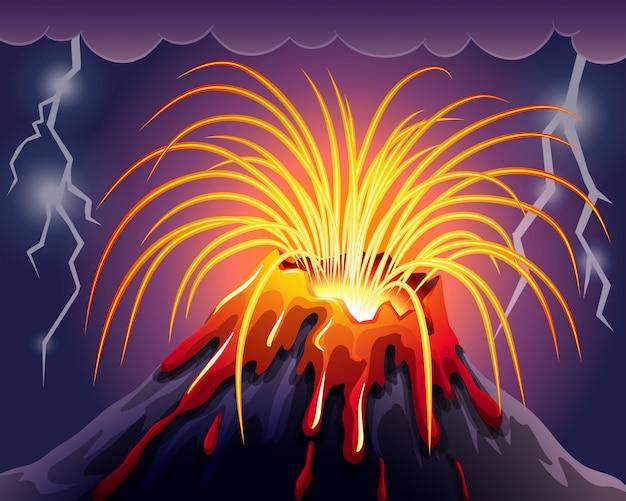 Wulkan w nocy z burzami